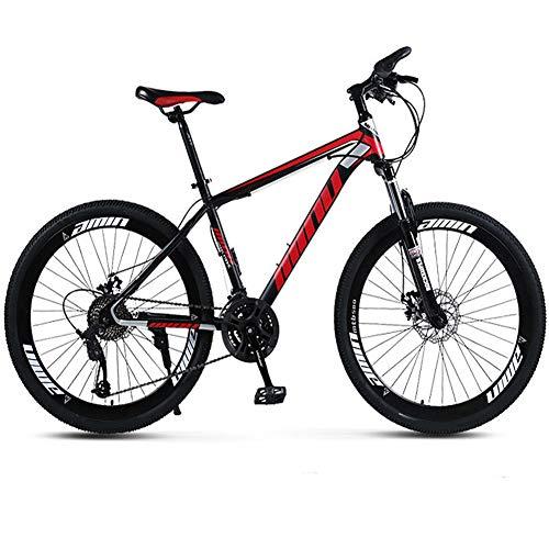 BicicletasMTB Adultos,Bicicletas Acero Carbono Alta Outroad,26 Pulgadas Radios Ruedas, 21/24/27/30 Velocidades Variables Bicicleta Velocidad 40 Cuchillo Al Aire Libre Bici Estudiante,Rojo,21 speed