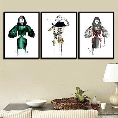 Nordic Stijl Vintage HD Art Print Posters Muur Foto Geometrische Groene Jurk Vrouw Canvas Schilderij Voor Woondecoratie 45x60cmx3 zonder lijst