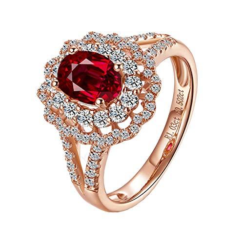 AnazoZ Echtschmuck Damen Ring 18K Rosegold Solitärring 1.13 Karat Rubin 2 Kreis Hohl Blume Hochzeit Ring Verlobungsring für Frauen Ring Damen Gold 750