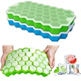 Ice Cube Tray, Ouddy 2 Pack Silicone Ice Cube Tray with Lid for Freezer, Totally 74-Ice Trays for Whiskey, Cocktail, Stackable Flexible - Green + Blue
