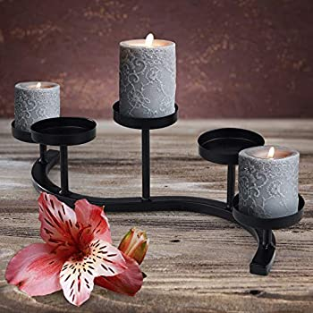 Wrought Iron Candle Holder  Black/5  Hand-Forged Wave Candelabra Centerpiece