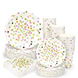Pink and Gold Dot Party Supplies - 200PCS Disposable Pink Paper Plates Dinnerware Confetti Dots Gold Star 50 Dinner Plates 50 Dessert Plates 50 9oz Cups 50 Napkins Wedding Birthday Party Baby Shower