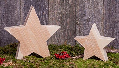 WOODS 2er Set Holzstern Esche - Dekoration aus Holz handgefertigt in Bayern I Holzsterne zum hinstellen - gemütliche Advent & Weihnachtsdeko für Fenster & Co I Holzstern groß 1x 20 cm und 1x 30 cm