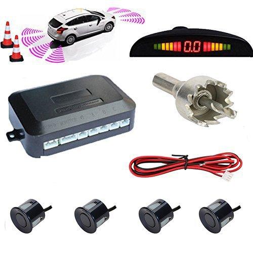 TKOOFN® Universal KFZ Radar Aparcamiento Sensor Alarma Acustica Indicador LUZ Kit LED Marcha Atras (4 Unidades Azul)