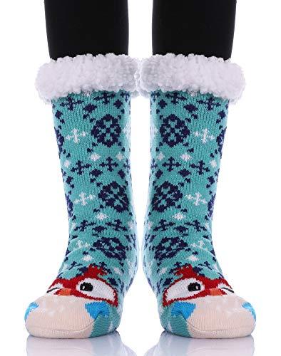 YEBING Women's Cute Knit Cartoon Animal Face Soft Warm Fuzzy Fleece Lining Winter Home Slipper Socks Blue Owl