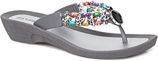 Pavers Womens Embellished Toe Post Sandals Beading Jewel Accents Summer Shoes