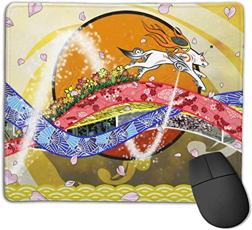 Okami spel anti-slip muismat rechthoek rubber Anime Mouse Pad Gaming Mouse Pad 8.6x7.1 inch (22x18 cm)