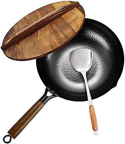 Wok aus Karbonstahl für Elektro-, Induktions- und Gasherde, 32 cm Durchmesser, Deckel und Spatel im Lieferumfang enthalten