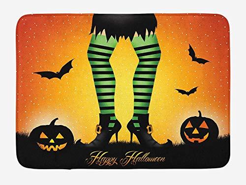 Casepillows Halloween Badmat, Cartoon Heks Benen met Gestreepte Leggings Western Concept Bats en Pompoenen Print, Pluche Badkamer Decor Mat met Niet Slip Backing, 23,6 x 15,7 Inch, Multi kleuren