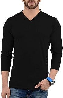 Plain Long Sleeve Shirt Men - Grey & Black Soft Cotton V Neck Full Sleeves Jersey