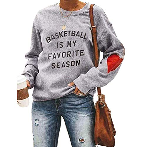 Basketball is My Favorite Season Women Casual Long Sleeve Letter Print Pullover Sweatshirt Grey Arkansas