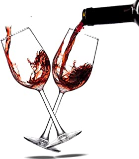 Wine Glasses Hand Made Italian Red Wine Glasses Standard 100% Lead-Free Premium Champagne Crystal Glass, Shatter Resistant, 14 Ounce Set of 2, Clear …