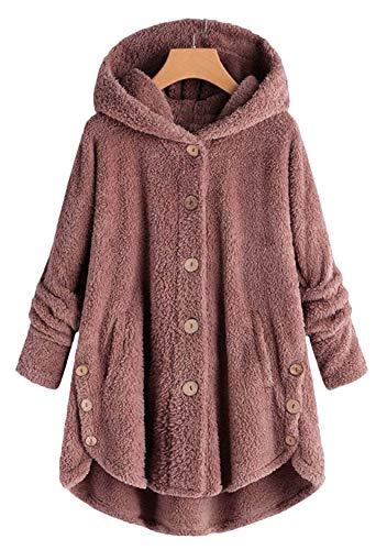 OMZIN Damen Kapuzenjacke Oversize Mäntel Elegant Winter Hoodie Locker Pullover Lang Winterjacke Kapuze Fleece Plüsch Wollmantel Rosa S