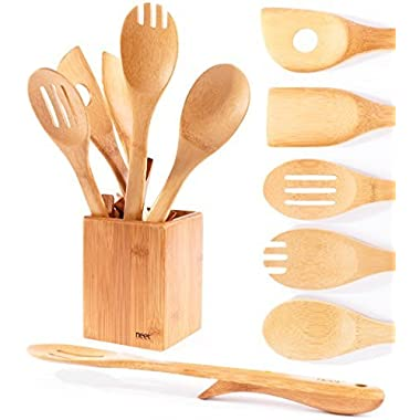 Organic Bamboo Cooking Utensils Set With Unique Elevation Feature, 6 Piece Set, Wooden Spoons Spatula,High Heat Resistant Non Stick, Wood Serving Spoon, Eco-Friendly & Biodegradable Kitchen Gift idea