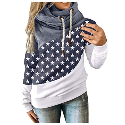 Binggong Sudadera con capucha para mujer, cuello alto, patchwork, deportiva, de manga larga, informal, para mujer