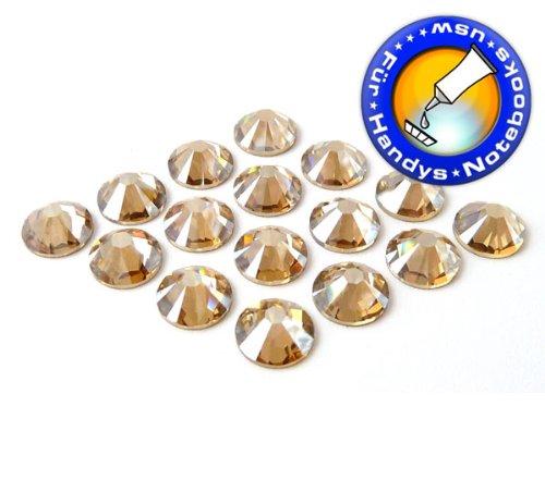 Swarovski 100 Stück Elements 2058 KEIN Hotfix, Crystal Golden Shadow, SS7 (Ø ca. 2,2 mm), Strasssteine zum Aufkleben
