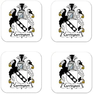 Carrington Family Crest Square Coasters Coat of Arms Coasters - Set of 4