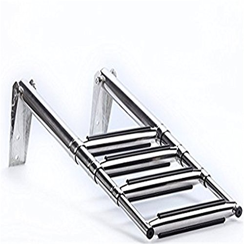 spareflying 4 Step Stainless Steel Telescoping Marine Boat Yacht Ladder Swim Step