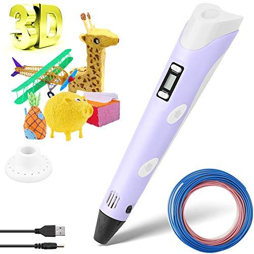 Pluma de Impresión 3D, Bolígrafo de Impresión 3D Inteligente Pluma 3D con Pantalla LCD Bolígrafo 3D Lápiz 3D Compatibles PLA e ABS Filamentos Control de Temperatura de Impresión de Regalo