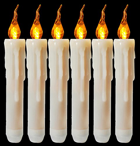 Flameless Yellow Flickering Led Taper Candle Battery Operated Vivid Fake Wax Dipped Amber Flicker Led Small Candles for Christmas Halloween Warm Glow Window Votive for Candlesticks Table Decor 6 Pack