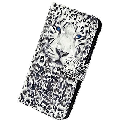 Herbests Kompatibel mit Samsung Galaxy A6 Plus 2018 Handyhülle Hülle Flip Case Glänzend Glitzer Bling 3D Muster Leder Schutzhülle Klappbar Bookstyle Brieftasche Ledertasche mit Magnet,Leopard