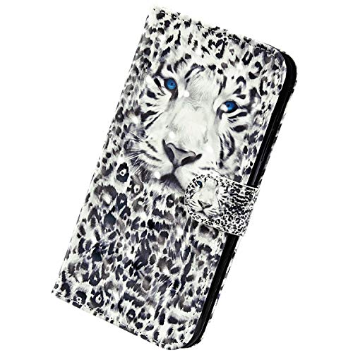Herbests Kompatibel mit Samsung Galaxy A20 / A30 Handyhülle Hülle Flip Case Glänzend Glitzer Bling 3D Muster Leder Schutzhülle Klappbar Bookstyle Brieftasche Ledertasche mit Magnet,Leopard