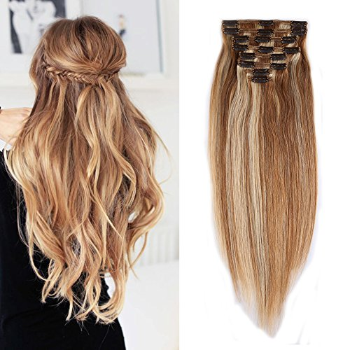 Double Weft 100% Remy Human Hair Clip in Extensions Highlight 10''-22'' Grade 7A Quality Full Head Thick Long Soft Silky Straight 8pcs 18clips(16' / 16 inch 130g,#12/613 Light Brown/Bleach Blonde)