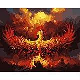 N/C Aint by Numbers Kits Pinturas acrílicas Set DIY Canvas Oil Painting Kits de Regalo Decoración del hogar- Reborn Phoenix Anima 16 * 20 Pulgadas