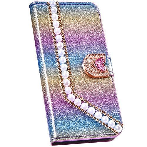 Ysimee Handyhülle kompatibel mit Samsung Galaxy J7 2017 Leder, Perle Design Schutzhülle Klappbar Stoßfest Kratzfest Hülle Flip Handy Tasche mit Standfunktion, Regenbogen -2
