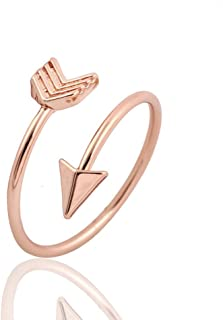 Silver and Rose Gold Open Adjustable Love Arrow Ring for Girls