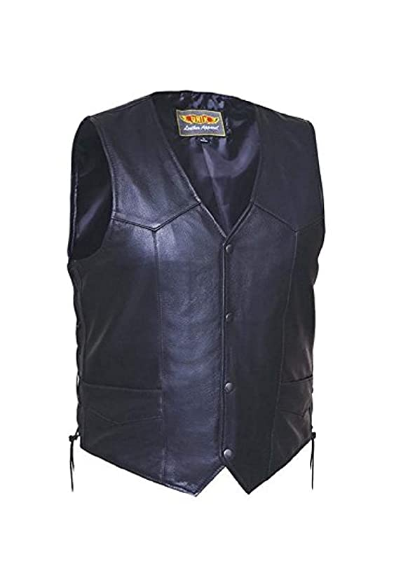 Unik International Mens Premium Leather Motorcycle Vest with side laces 2XL