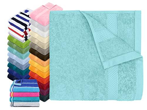 Dyckhoff Traumhaft weiche Bio-Handtuchserie - erhältlich in 22 modischen Unifarben in 7 verschiedenen Größen, sowie 7 Streifen-Variationen, 1 Handtuch 50 x 100 cm, türkis