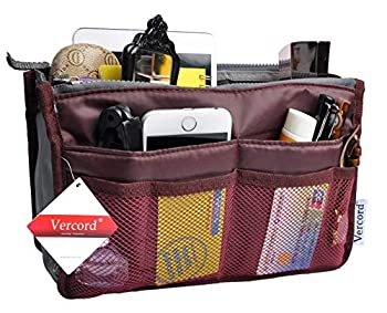 Vercord Purse Organizer Insert for Handbags Bag Organizers Inside Tote Pocketbook Women Nurse Nylon 13 Pockets Burgundy Small