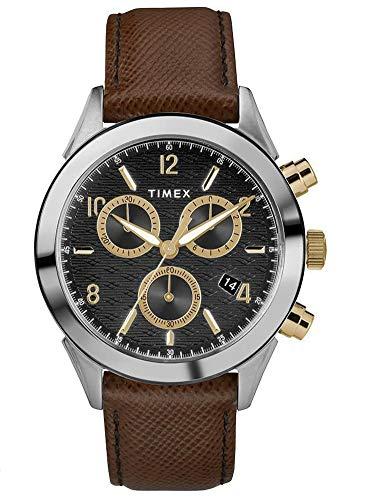Timex Herren Chronograph Quarz Uhr mit Leder Armband TW2R90800