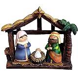 Nativity Scene Living Room Desktop Decoration, Mini Religiöse Heilige Geburt Jesu Handwerk Christliches,Europäische Krippe Ornament,14.5X4X9CM