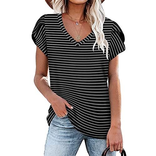TYTUOO Camisetas de verano para mujer túnica suelta casual con cuello en V de manga corta chaleco Tops estampado a rayas Tee Blusas