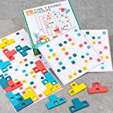 Floor Wooden Pattern Blcoks Puzzle Intellectual Game Educational Toys for Kid Age 3+ Years Old 16 Shape Pieces 6 Double-Sided Cards