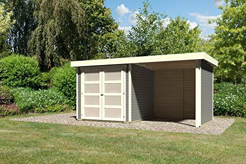 KARIBU. Gartenhaus Mühlendorf 2 terragrau mit Anbaudach 240 cm, Seiten u. RŸckwand