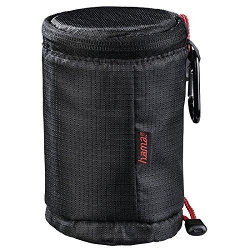 Hama Objektivköcher zur Aufbewahrung und zum Schutz eines Objektivs (11 x 7,5 cm, Objektivtasche mit Reißverschluss und Karabiner, Rexton) schwarz