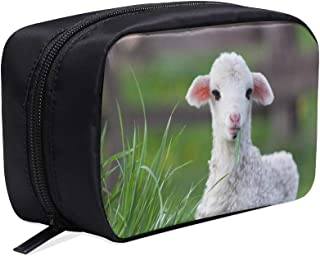 Cute Lamb Funny Animal Portable Travel Makeup Cosmetic Bags Organizer Multifunction Case Small Toiletry Bags For Women And Men Brushes Case