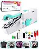 VOLCANOES CLUB Handheld Sewing Machine, Mini Handy Cordless Electric Sewing Machine Portable for Beginners, Kids, Adults - Household Quick Repairing Stitch Tool Suitable for Leather, Clothes, Curtains - Home Travel Use - White