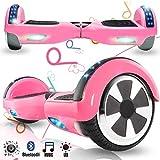 Magic Vida Skateboard Électrique 6.5 Pouces Bluetooth Puissance 700W avec Deux Barres LED Gyropode Auto-Équilibrage de Bonne qualité pour Enfants et Adult(Rose)