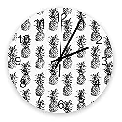 LBDecor Wall Clocks Battery Operated 12inch, Tropical Fruit Pineapple Pattern, Modern Large Silent Wall Clock Decor for Living Room/Bathroom/Kitchen, Indoor Outdoor Wood Round Wall Decorative, Grey