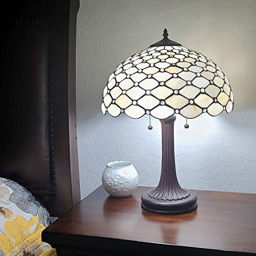 Amora Lighting Tiffany Style Table Lamp Banker Jeweled 26' Tall Glass White Yellow Stains Antique Vintage Light Decor Nightstand Living Room Bedroom Handmade Gift AM1041TL16B
