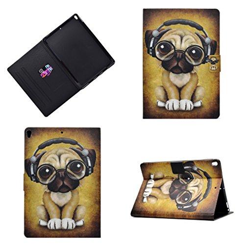 Preisvergleich Produktbild LMAZWUFULM Hülle für Apple iPad Pro 2017 (10, 5 Zoll) PU Leder Ultra Dünn Magnet Lederhülle Kleiner Hund Trägt Kopfhörer Muster Stent-FunktionLedertasche Flip Cover für Apple iPad Pro Tablet-PC