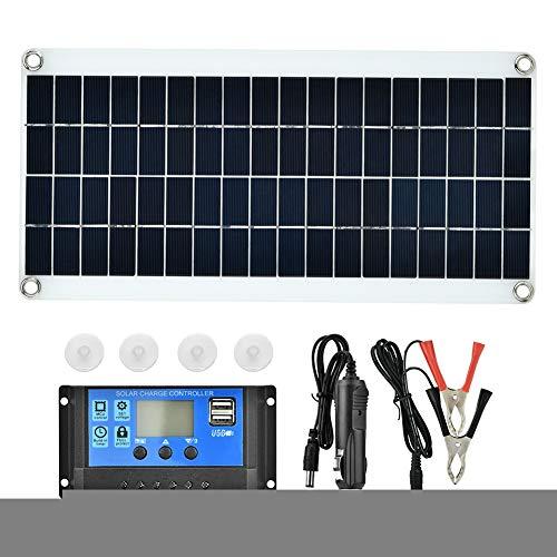 BTIHCEUOT Solar Flexible Panel Portable 25W Hocheffizienter polykristalliner Controller für Batterieladegeräte