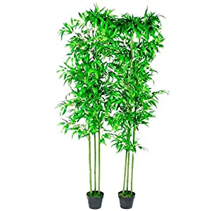 FesjoySet of 2 Artificial Bamboo, Artificial Trees Decorative Plants for Home, Office, Lobby 190 cm