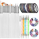 Nail Art Brushes, Teenitor 3D Nail Art Paiting Polish Design Kit with 15 Nail Gel Brushes, Nail...