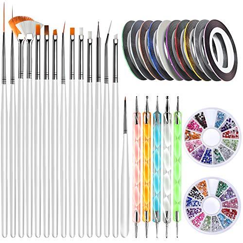 Nail Art Brushes, Teenitor 3D Nail Art Paiting Polish Design Kit with 15 Nail Gel Brushes, Nail Dotting Pen 5pcs, 12 Colors Nail Rinestones & 10 Adhesive Nail Striping Tape for False Acrylic Nails