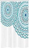 ABAKUHAUS Mandala Schmaler Duschvorhang, Hochzeits-Einladung Spitze, Badezimmer Deko Set aus Stoff mit Haken, 120 x 180 cm, Himmelblau Hellblau